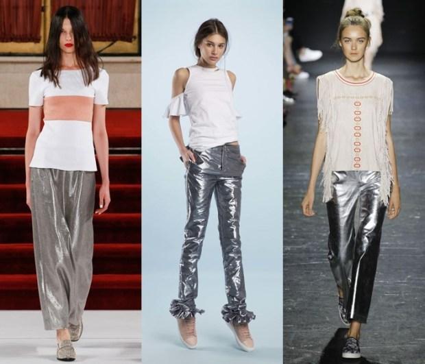 Pantaloni fete culoare metalica