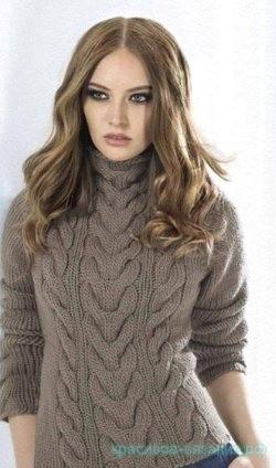 вязание свитера с косами