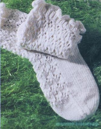 Ажурные носки, вязанные ажурные носки с красивой пяткой