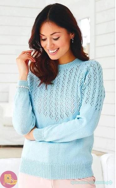свитер спицами описание