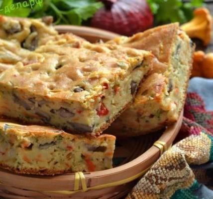 Пирог с грибами на кефире 5