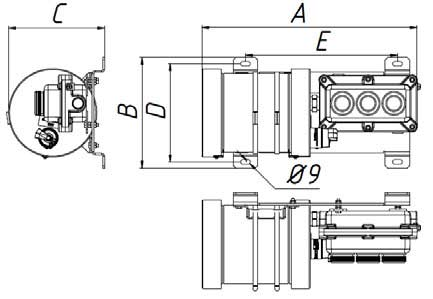 Чертеж светильника светодиодного взрывозащищенного СГМ02 с внешним источником бесперебойного питания для аварийного совещания