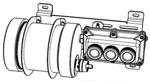 Эскиз светильника светодиодного взрывозащищенного СГМ02 с внешним источником бесперебойного питания для аварийного совещания