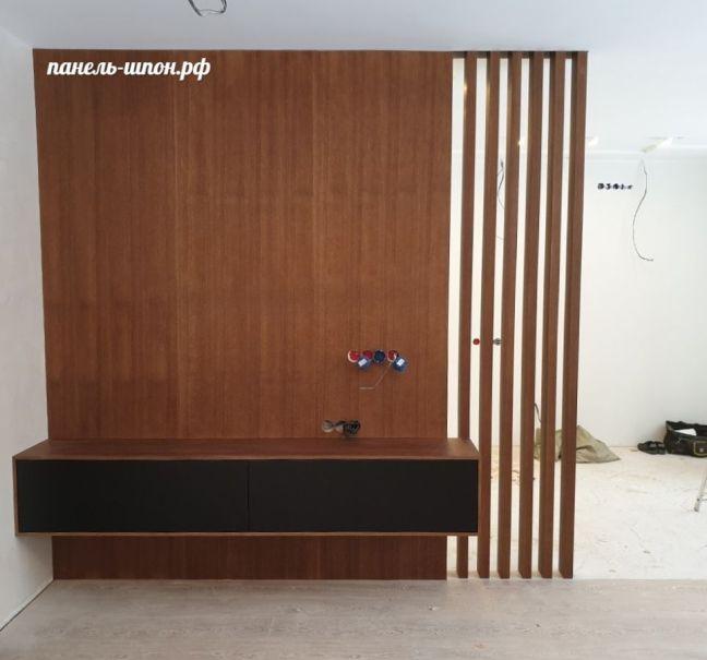 Шпонированные стеновые панели на примере отделки гостиной