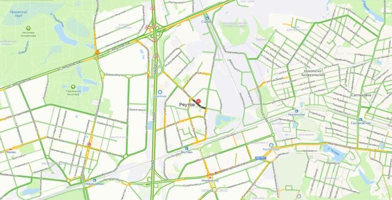 Пробки в Реутове онлайн сейчас на карте Яндекс