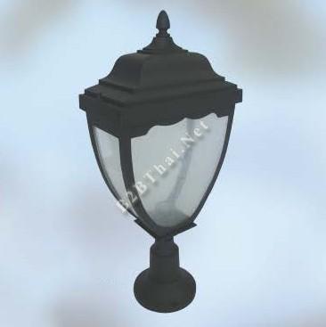 โคมไฟหัวเสากันน้ำ สีดำ