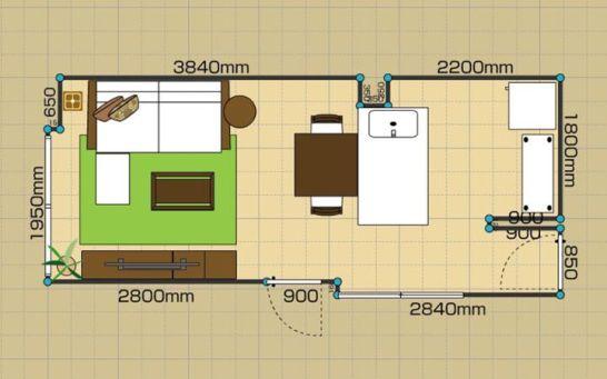 10畳のリビングダイニングレイアウト実例、間取り図