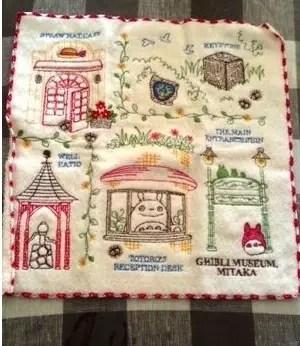 美術館圖樣的毛巾手帕-3