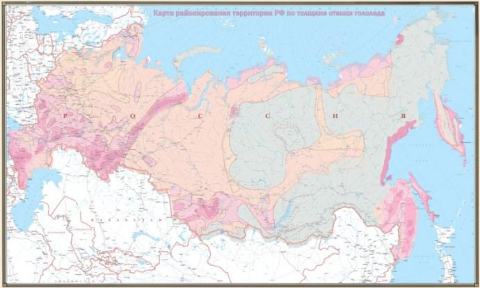 Карта районирования территории РФ по толщине стенки гололеда.