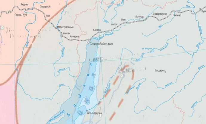 Карта районирования территории РФ по толщине стенки гололеда - фрагмент.