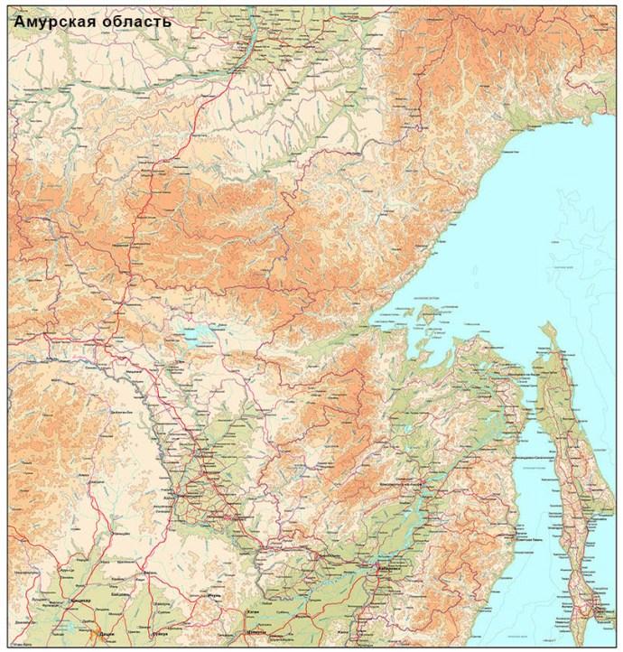 Цена карты Амурской области