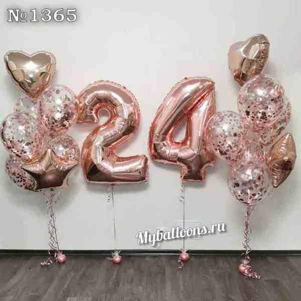 Фонтаны из шаров и цифры 24