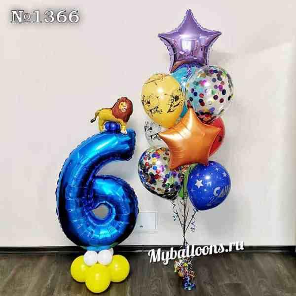 Синяя шестерка с украшениями и фонтан из шаров