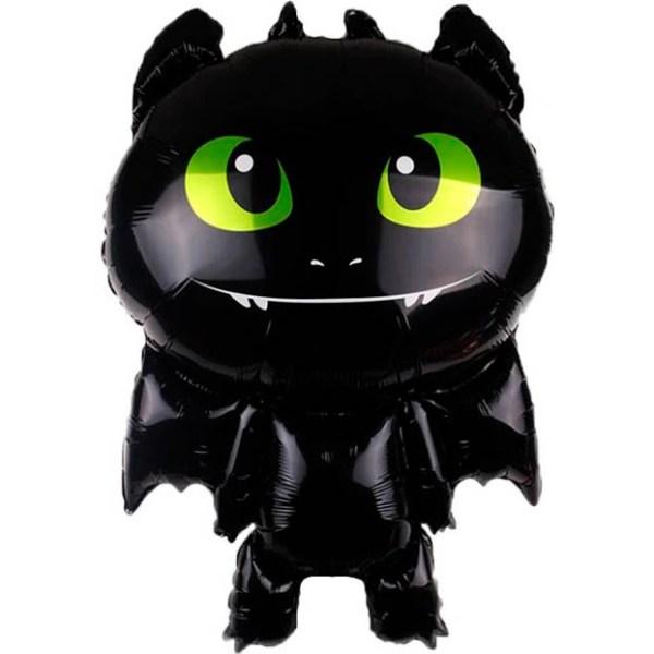 Маленький черный дракон с гелием