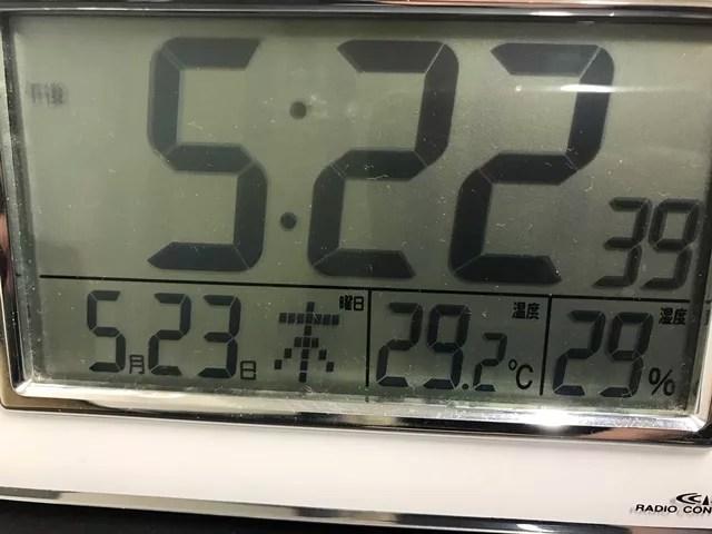 室温が29度を超えた温度計