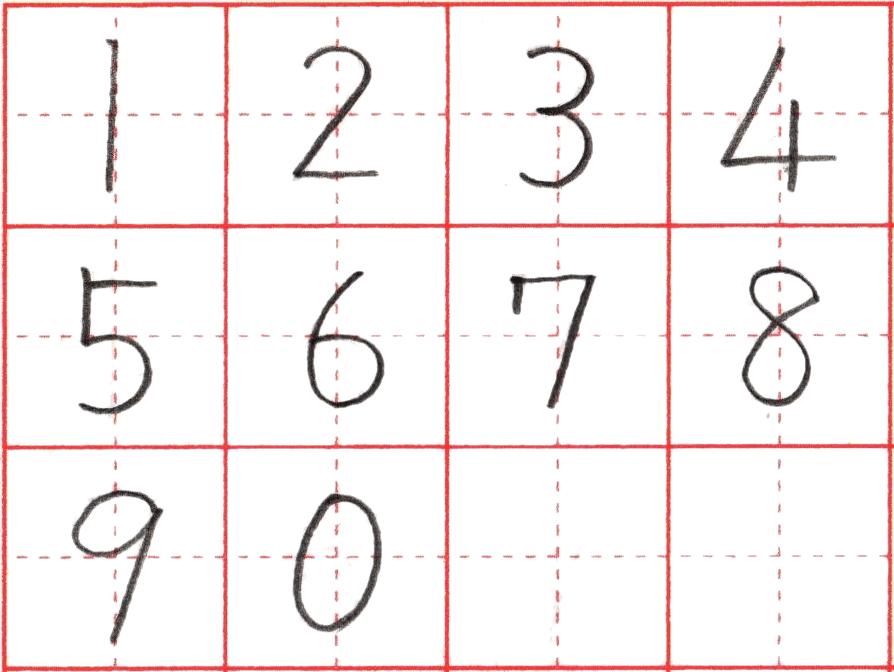 ※ペン字で書くアラビア数字(算用数字)