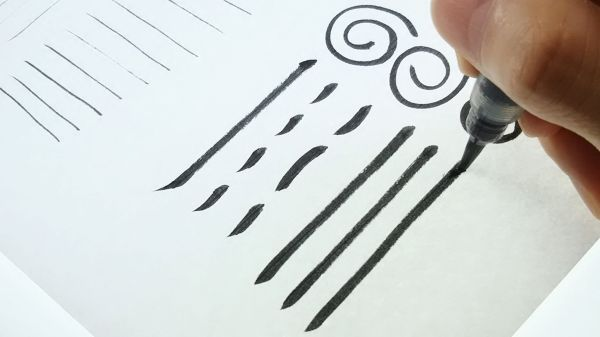 筆ペンでの太い線の書き方