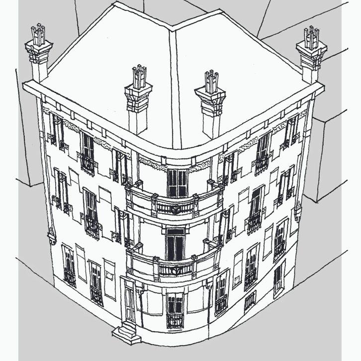 Dibujo del nº 2 de la rúa Alfonso IX
