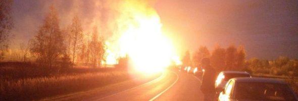 20.10.17 — взрыв и факельное горение газопровода 1200мм в Луховицах