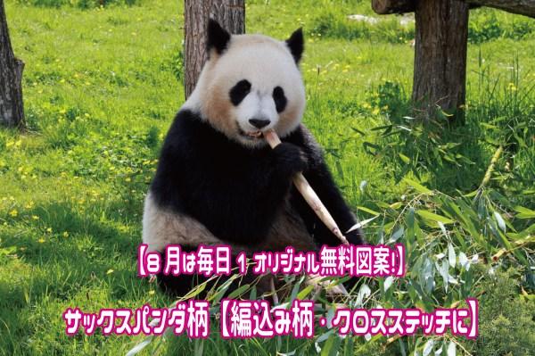 【8月は毎日1オリジナル無料図案!】サックスパンダ柄【編込み柄・クロスステッチに】