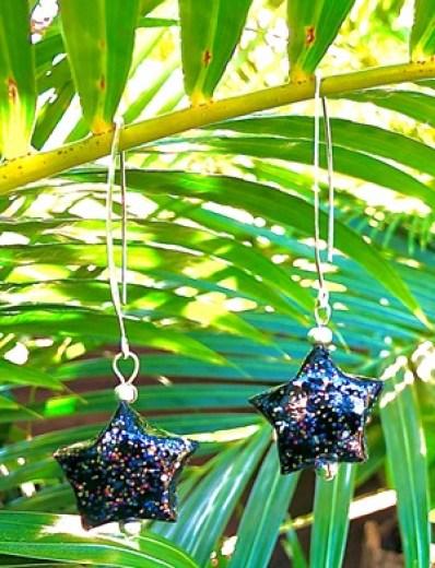 Boucles étoiles noires a pailettes