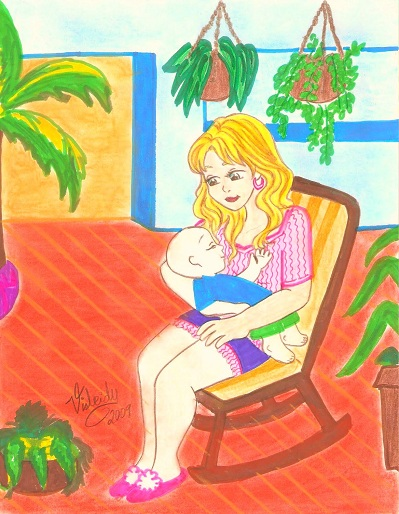 dibujo de madre cargando bebe