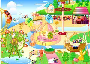 niños en el parque de diversiones