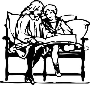 mama e hijo sentados juntos