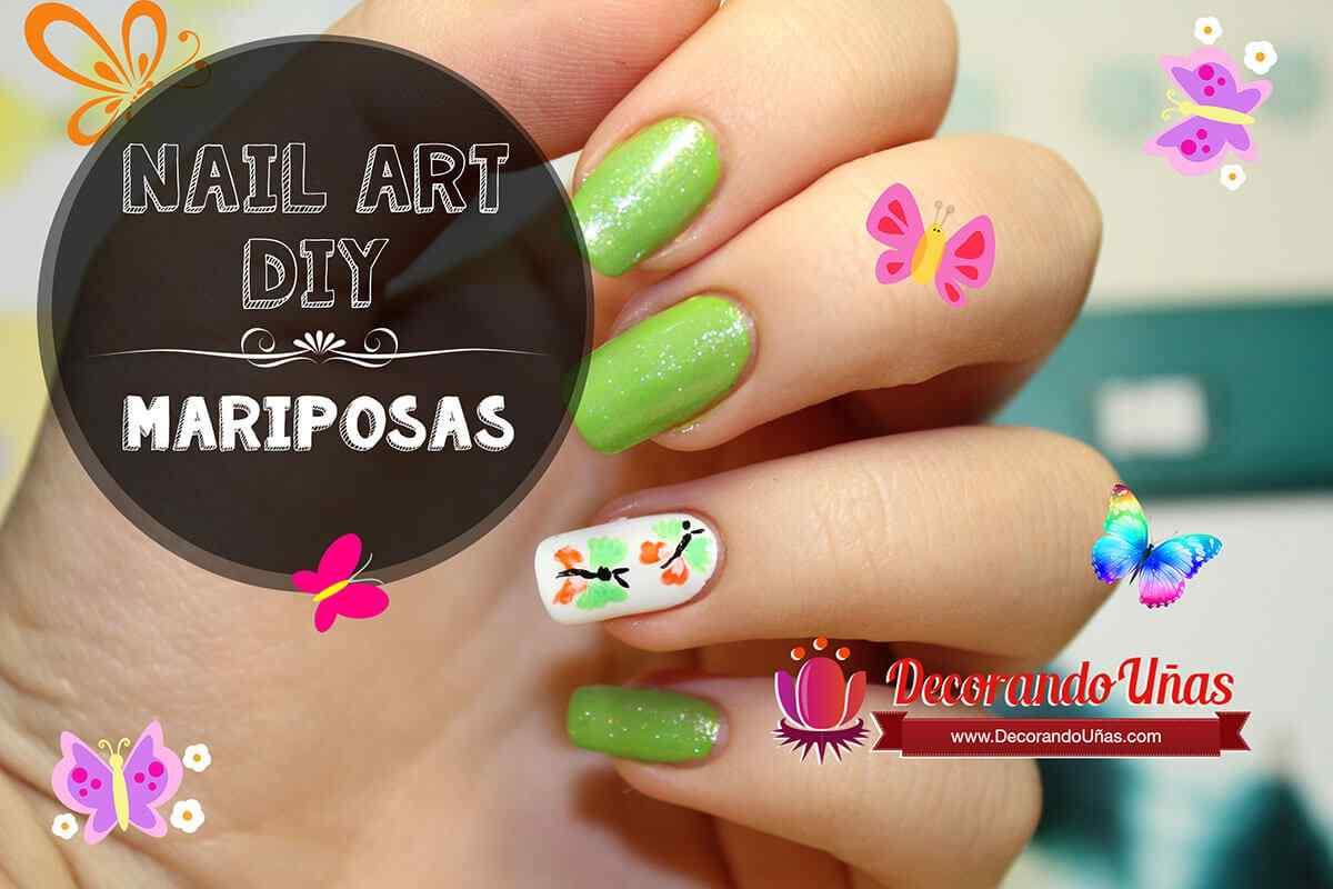 Uas decoradas con Mariposas  Nail art DIY  Tutorial