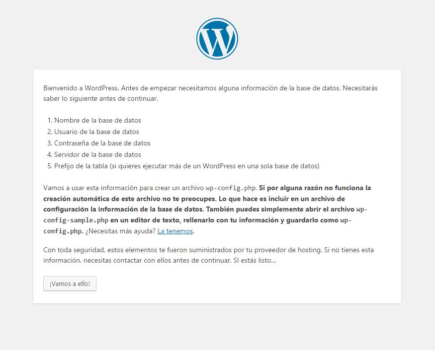 Instalador de WordPress - Paso 1