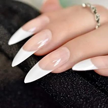 ejemplos de uñas francesas largas blanco