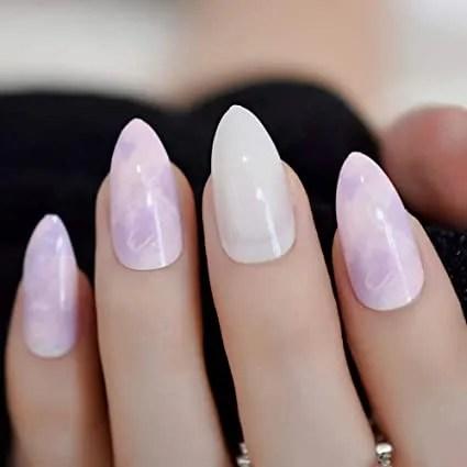 uñas postizas de mármol de color rosa morado blanco jade color tierno parte superior uñas postizas prediseño acrílico completo uñas postizas