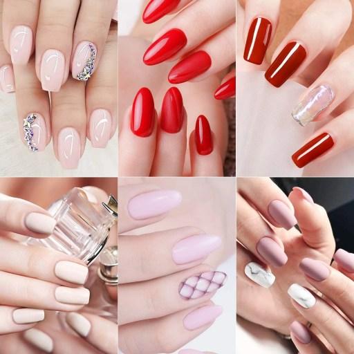 Muestra de Varios diseños de uñas de gel en diferentes Colores largas y cortas