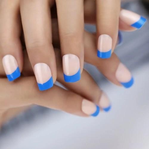Uñas Postizas Manicura Francesa Punta Azul elegantes y bonitos
