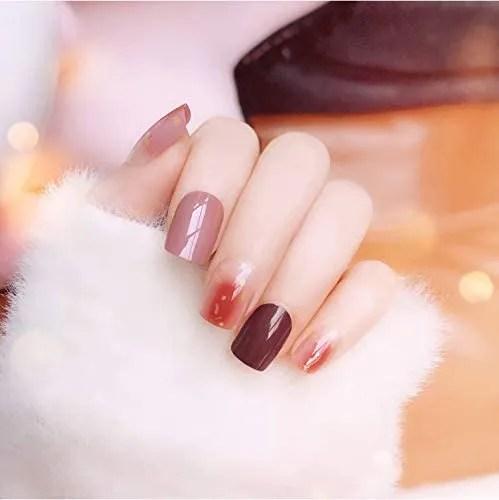 Uñas Postizas ,Natural Francés Nails,24Pcs De Uñas Postizas De Color Marrón Café, Uñas Postizas De Diseño