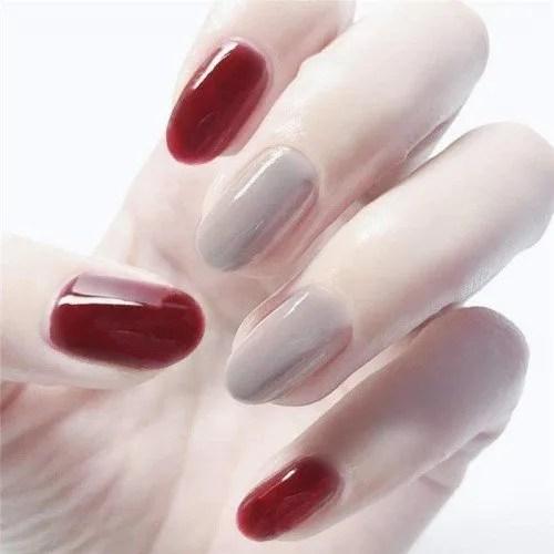 SRTYH Uñas postizas, Vino rojo gris color sólido cabeza redonda uñas postizas acabado parche de uñas