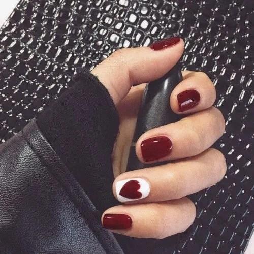NJIANGHUA - Juego de 24 uñas postizas, color rojo vino