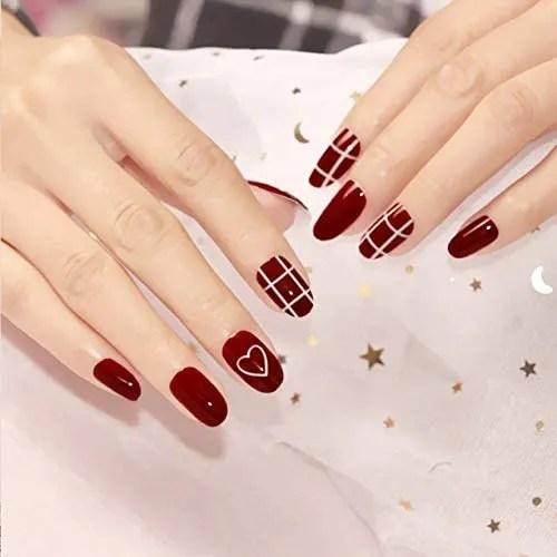Squarel - Juego de 24 uñas postizas de colores lisos cuadrados para manualidades, 24 unidades, color rojo vino