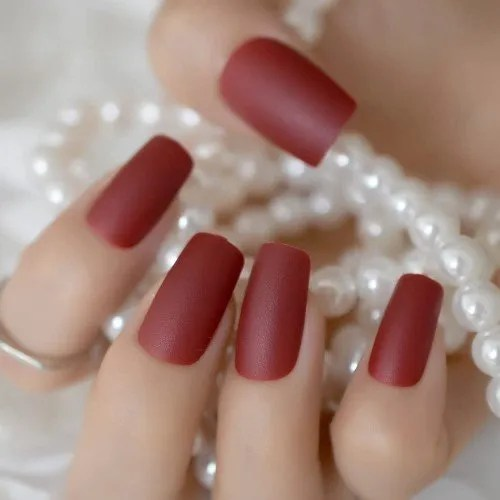 EchiQ Puro vino rojo mate uñas falsas Carmine helado dedo falso uñas puntas cuadrado superior uñas arte para la fiesta de la novia...