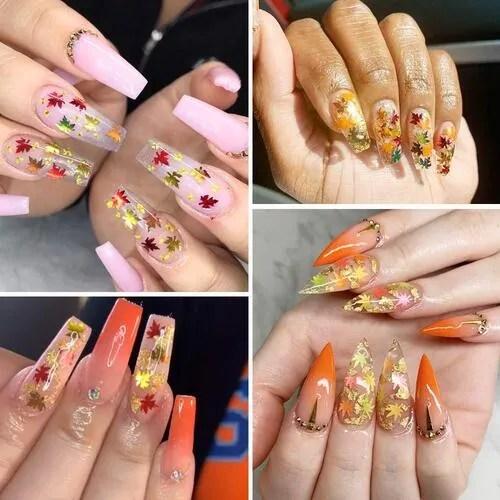 diseños de uñas de gel de otoño con purpurina de lentejuelas