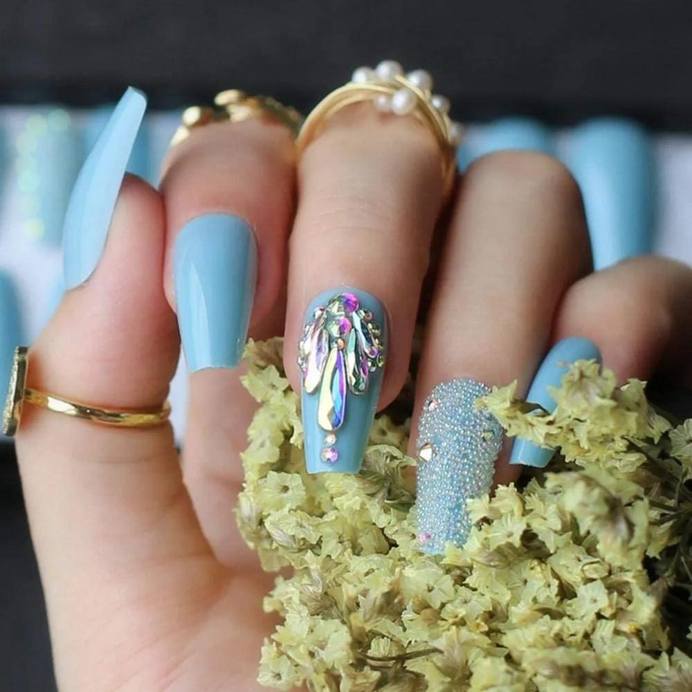 Uñas postizas Azul cielo uñas postizas verano cristal brillante ataúd de uñas uñas acrílicas