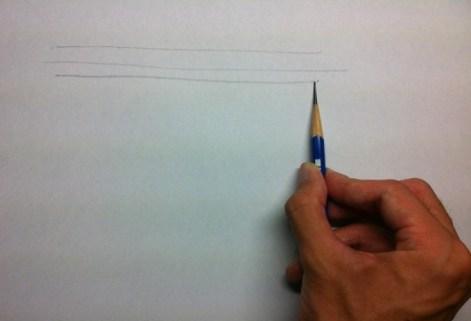 鉛筆を寝かせて横の線を描く