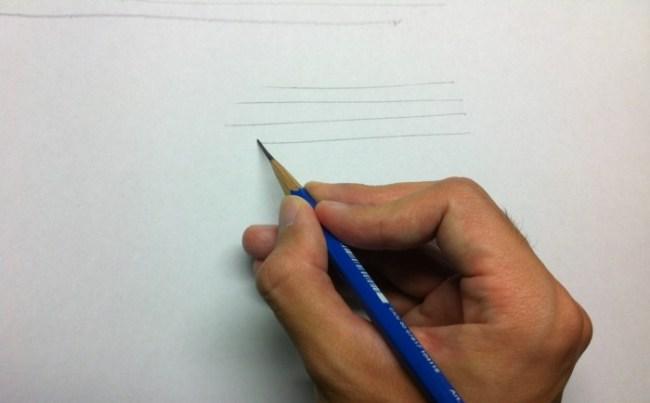 鉛筆持ちで横の線を描く