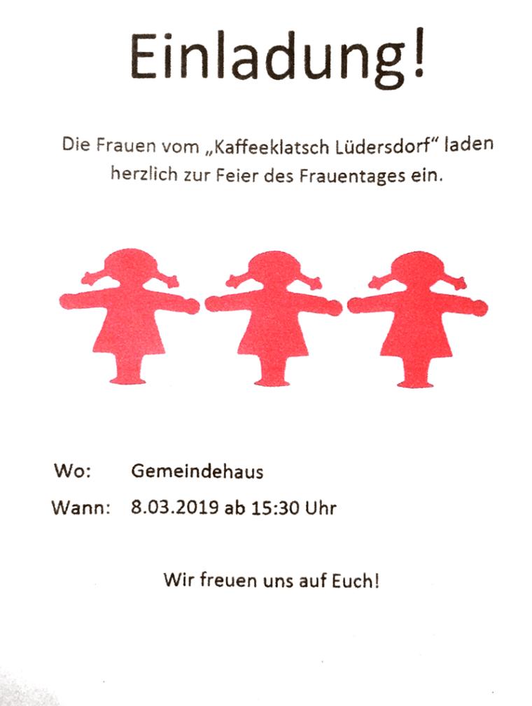 Frauentagsfeier vom Kaffeeklatsch Lüdersdorf @ Gemeindehaus Lüdersdorf