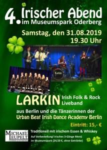 4. Irischer Abend im Museumspark mit LARKIN und den Tänzerinnen der Urban Beat Irish Dance Academy Berlin (und 3-Gänge Menü) @ Museumspark Oderberg