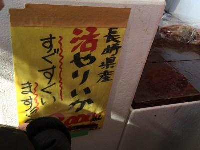大阪 中之島漁港 中之島みなと食堂 いけす 魚 イカ