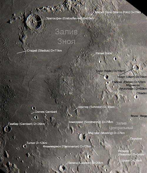 """Виды """"города Груйтуйзена"""" на Луне. На нижнем фото выделен белым прямоугольником. Полуразрушенный кратер Шретер, выше и левее """"город Груйтуйзена"""". (Выглядит в виде """"елочки"""" из гор выше и левее кратера с центральной горкой)"""