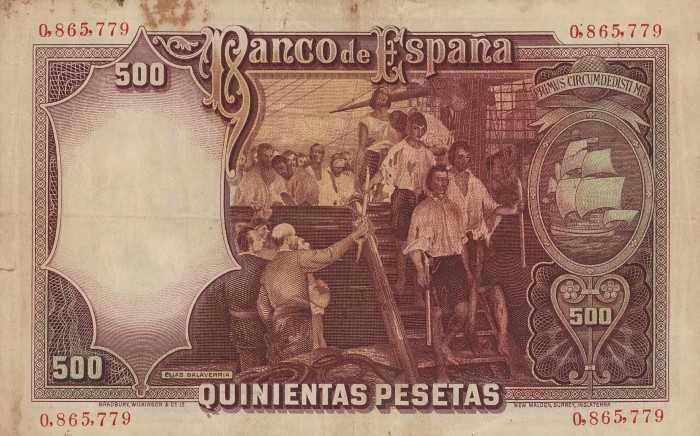 испанская купюра 500 песет 1931 года