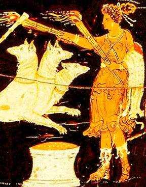 Геката и пёс Кербер. Краснофигурная керамика.