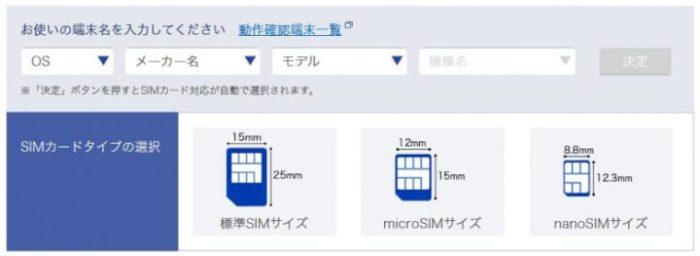 SIMカードのサイズを選択